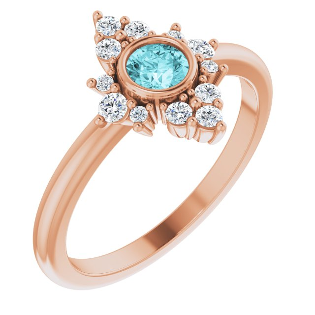 Genuine Zircon Ring in 14 Karat Rose Gold Genuine Zircon & 1/5 Carat Diamond Ring