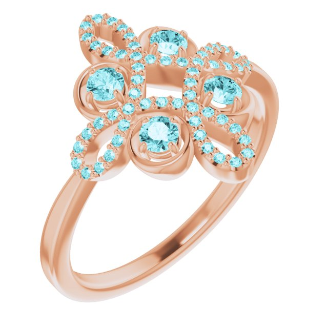 Genuine Zircon Ring in 14 Karat Rose Gold Genuine Zircon & 1/6 Carat Diamond Clover Ring