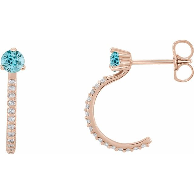 Genuine Zircon Earrings in 14 Karat Rose Gold Genuine Zircon & 1/6 Carat Diamond Hoop Earrings