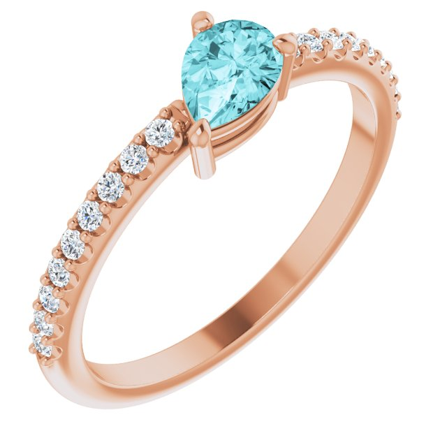 Genuine Zircon Ring in 14 Karat Rose Gold Genuine Zircon & 1/6 Carat Diamond Ring