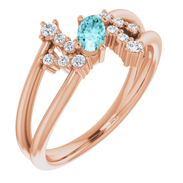 Genuine Zircon Ring in 14 Karat Rose Gold Genuine Zircon & 1/8 Carat Diamond Bypass Ring