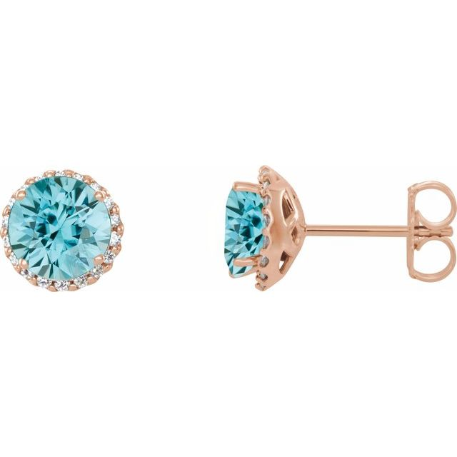 Genuine Zircon Earrings in 14 Karat Rose Gold Genuine Zircon & 1/8 Carat Diamond Earrings