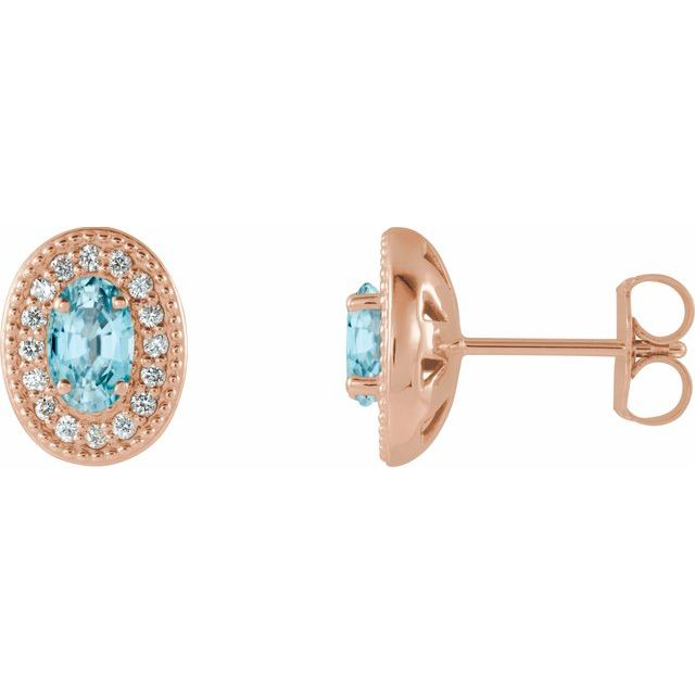 Genuine Zircon Earrings in 14 Karat Rose Gold Genuine Zircon & 1/8 Carat Diamond Halo-Style Earrings