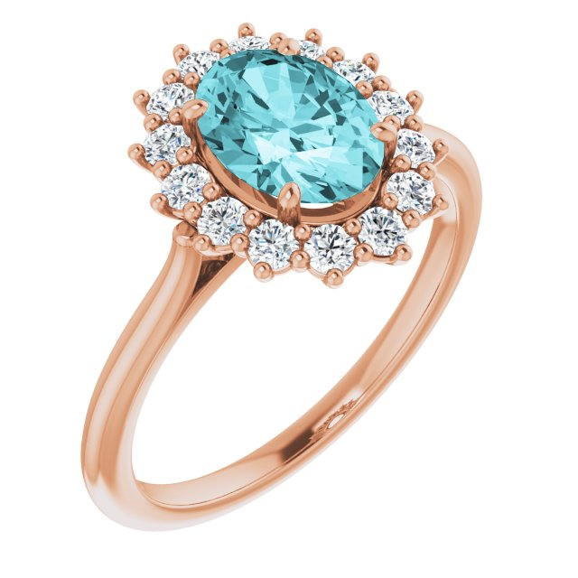 Genuine Zircon Ring in 14 Karat Rose Gold Genuine Zircon & 3/8 Carat Diamond Ring