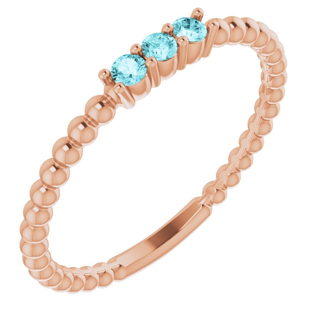 Genuine Zircon Ring in 14 Karat Rose Gold Genuine Zircon Beaded Ring