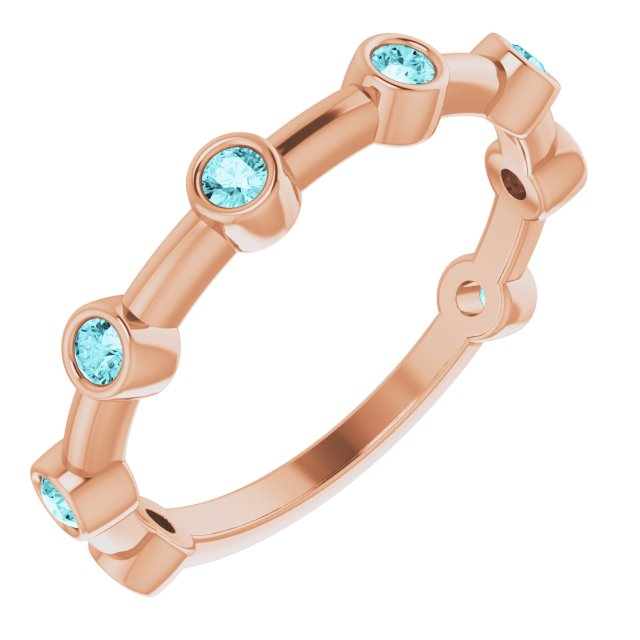 Genuine Zircon Ring in 14 Karat Rose Gold Genuine Zircon Bezel-Set Bar Ring