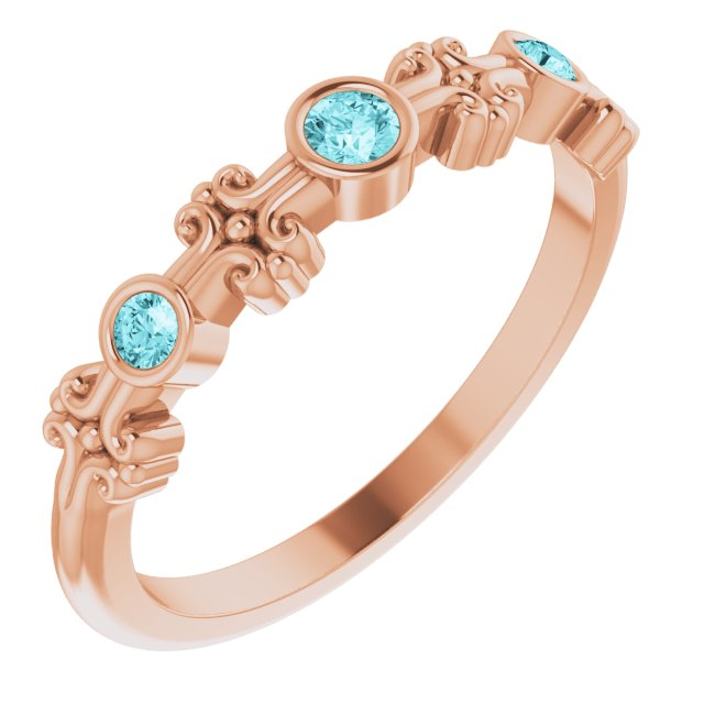 Genuine Zircon Ring in 14 Karat Rose Gold Genuine Zircon Bezel-Set Ring