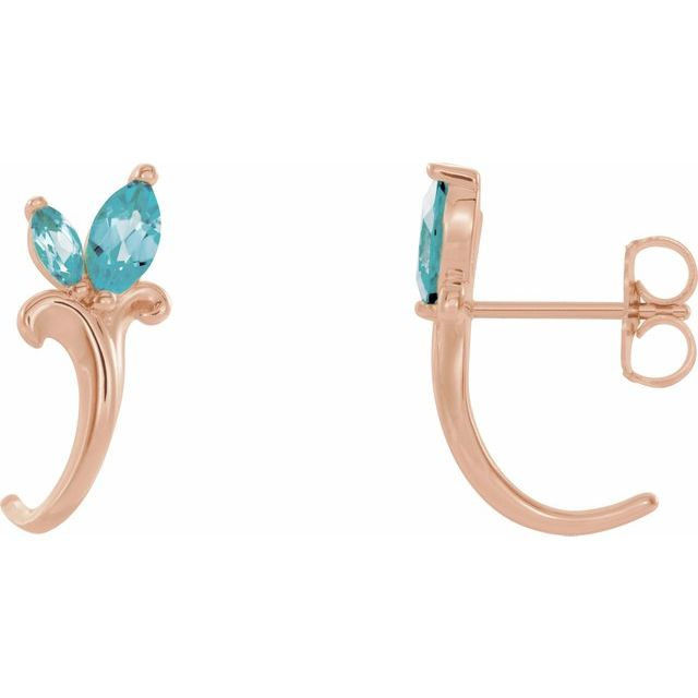 Genuine Zircon Earrings in 14 Karat Rose Gold Genuine Zircon Floral-Inspired J-Hoop Earrings