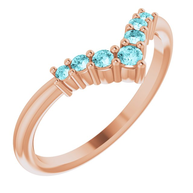 Genuine Zircon Ring in 14 Karat Rose Gold Genuine Zircon Graduated