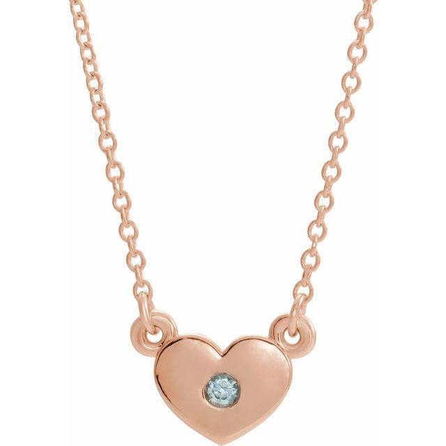 Genuine Zircon Necklace in 14 Karat Rose Gold Genuine Zircon Heart 16