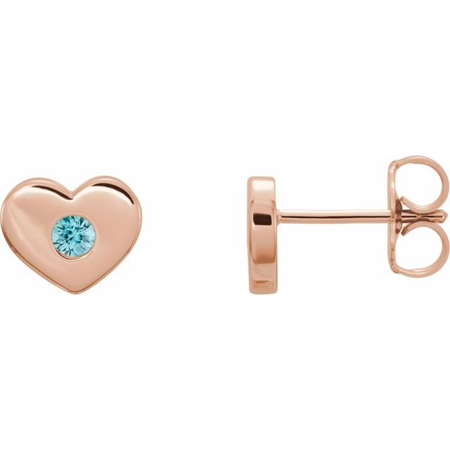 Genuine Zircon Earrings in 14 Karat Rose Gold Genuine Zircon Heart Earrings