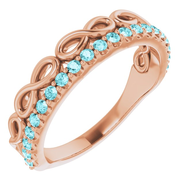 Genuine Zircon Ring in 14 Karat Rose Gold Genuine Zircon Infinity-Inspired Stackable Ring
