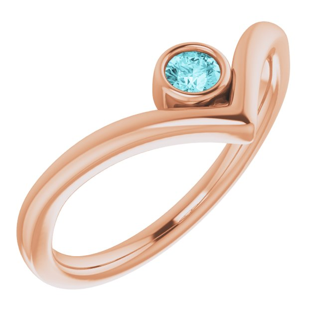 Genuine Zircon Ring in 14 Karat Rose Gold Genuine Zircon Solitaire Bezel-Set