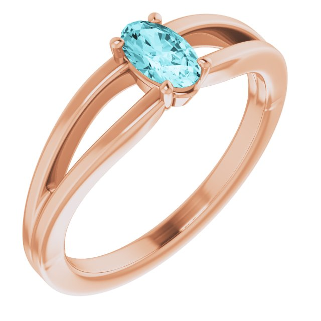 Genuine Zircon Ring in 14 Karat Rose Gold Genuine Zircon Solitaire Youth Ring