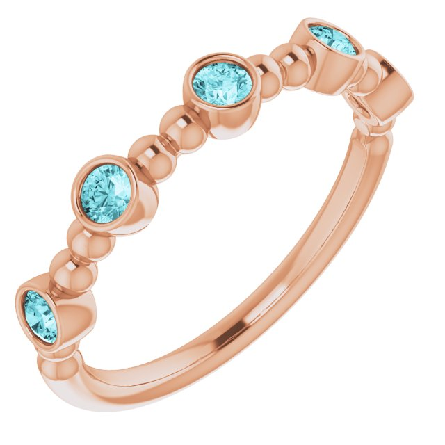 Genuine Zircon Ring in 14 Karat Rose Gold Genuine Zircon Stackable Beaded Ring