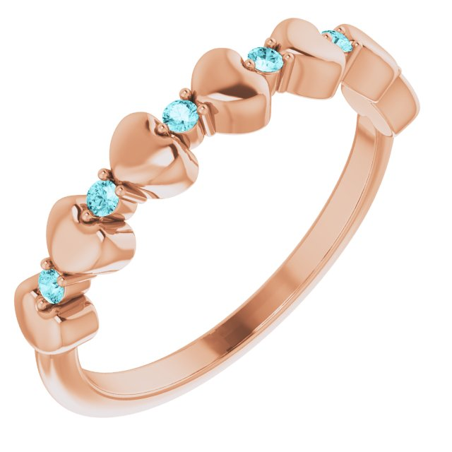 Genuine Zircon Ring in 14 Karat Rose Gold Genuine Zircon Stackable Heart Ring