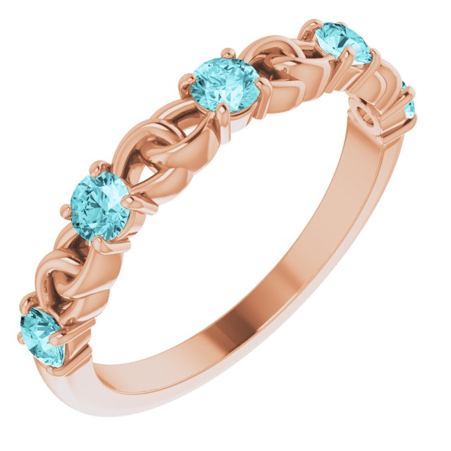 Genuine Zircon Ring in 14 Karat Rose Gold Genuine Zircon Stackable Link Ring