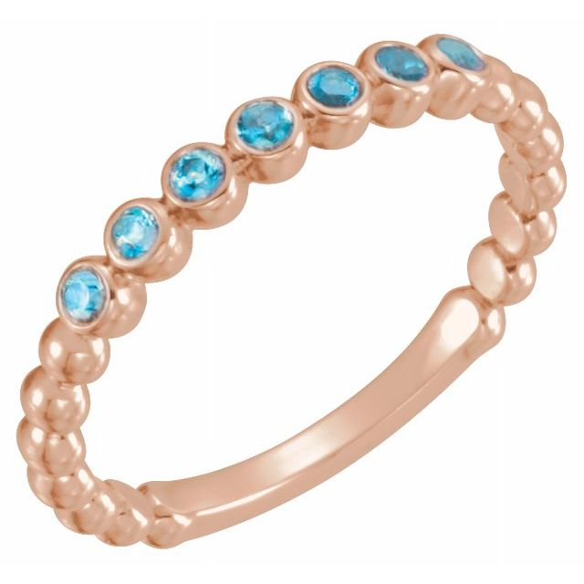 Genuine Zircon Ring in 14 Karat Rose Gold Genuine Zircon Stackable Ring