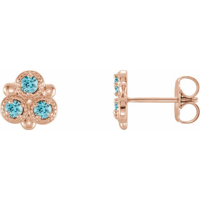 Genuine Zircon Earrings in 14 Karat Rose Gold Genuine Zircon Three-Stone Earrings
