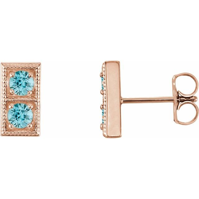 Genuine Zircon Earrings in 14 Karat Rose Gold Genuine ZirconTwo-Stone Earrings