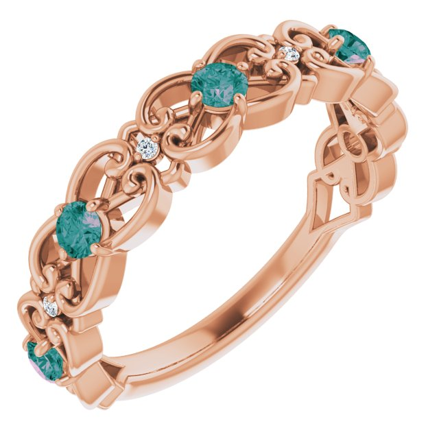 Chatham Created Alexandrite Ring in 14 Karat Rose Gold Chatham Created Alexandrite & .02 Carat Diamond Vintage-Inspired Scroll Ring