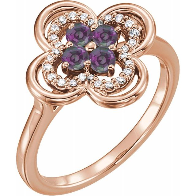 Chatham Created Alexandrite Ring in 14 Karat Rose Gold Chatham Created Alexandrite & 1/10 Carat Diamond Ring