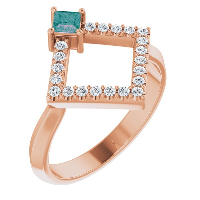 Chatham Created Alexandrite Ring in 14 Karat Rose Gold Chatham Created Alexandrite & 1/5 Carat Diamond Geometric Ring