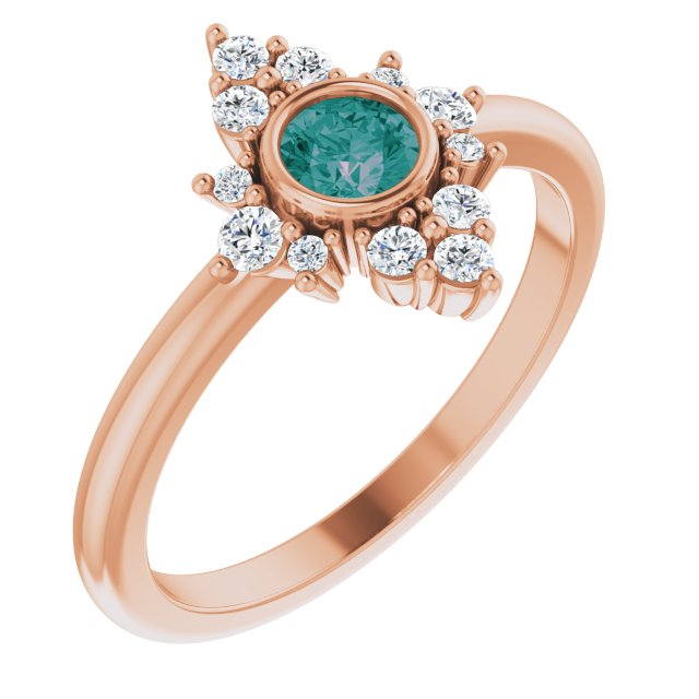 Chatham Created Alexandrite Ring in 14 Karat Rose Gold Chatham Created Alexandrite & 1/5 Carat Diamond Ring