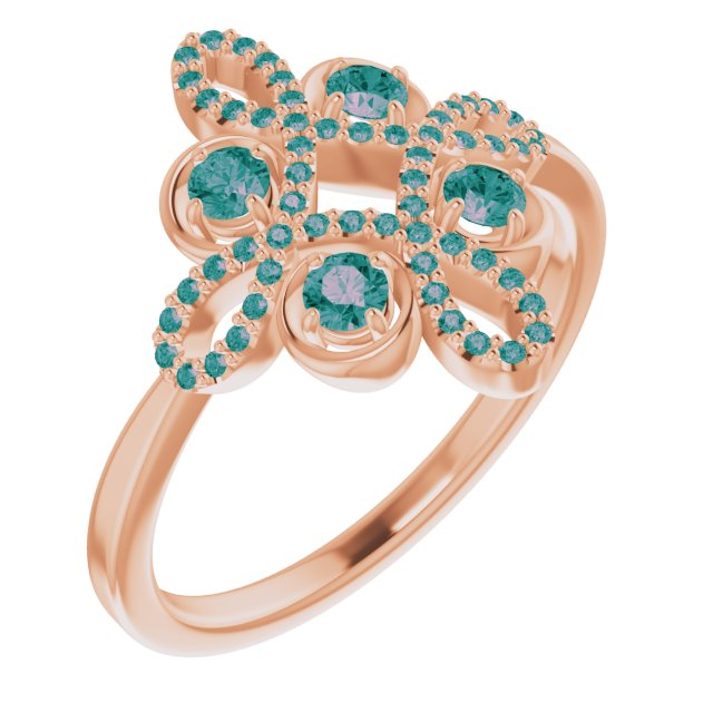 Chatham Created Alexandrite Ring in 14 Karat Rose Gold Chatham Created Alexandrite & 1/6 Carat Diamond Clover Ring
