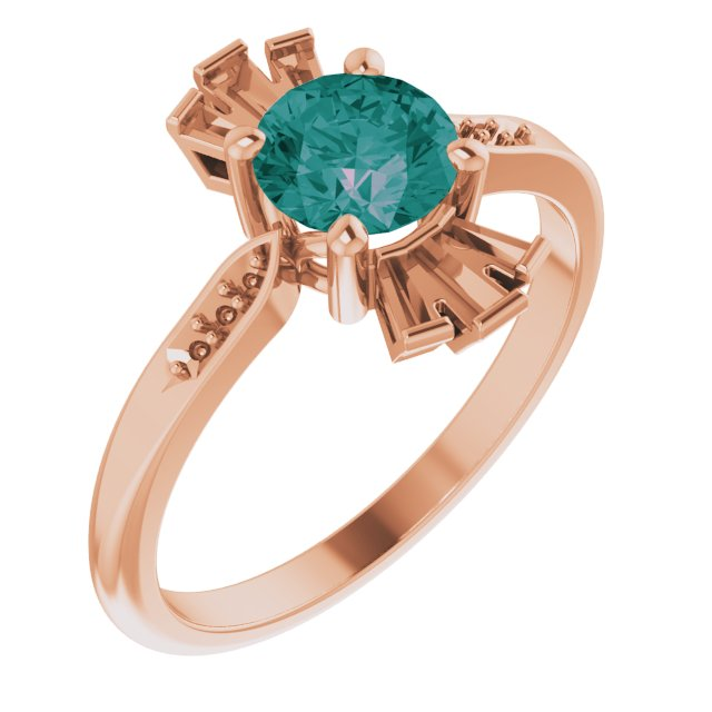 Created Alexandrite Ring in 14 Karat Rose Gold Chatham Created Alexandrite & 1/6 Carat Diamond Ring