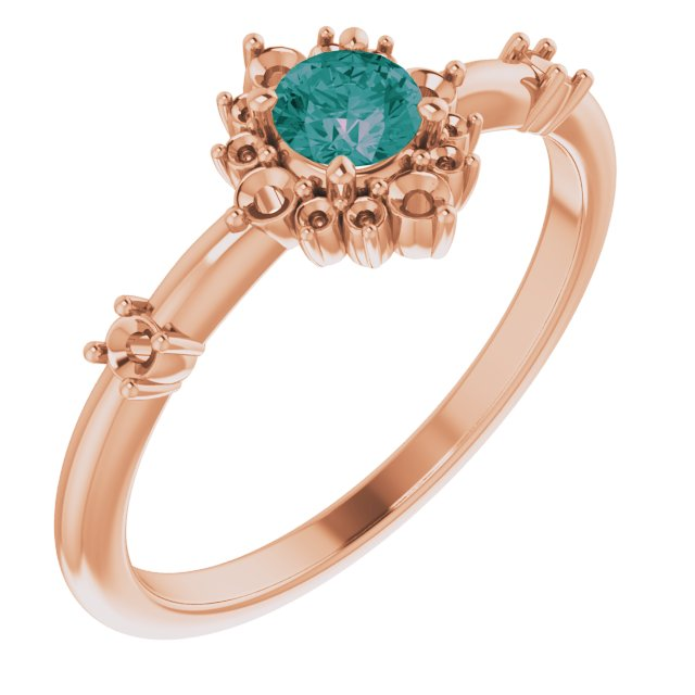 Chatham Created Alexandrite Ring in 14 Karat Rose Gold Chatham Created Alexandrite & 1/6 Carat Diamond Ring