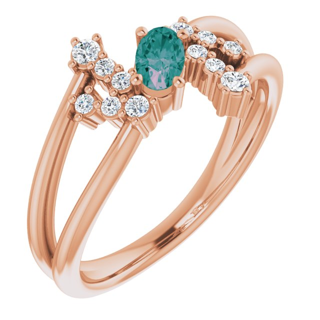 Chatham Created Alexandrite Ring in 14 Karat Rose Gold Chatham Created Alexandrite & 1/8 Carat Diamond Bypass Ring