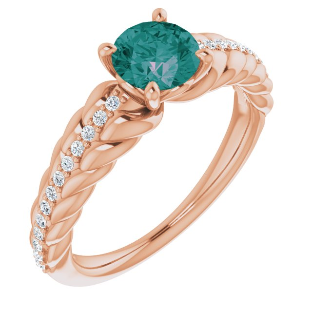 Chatham Created Alexandrite Ring in 14 Karat Rose Gold Chatham Created Alexandrite & 1/8 Carat Diamond Ring