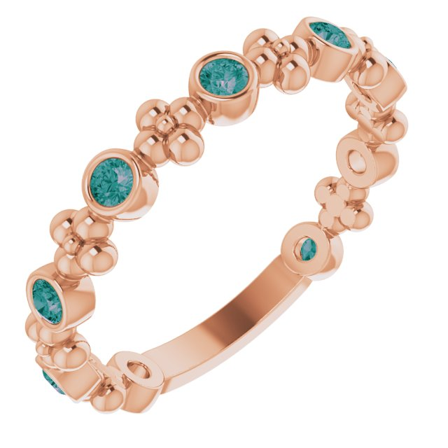 Chatham Created Alexandrite Ring in 14 Karat Rose Gold Chatham Created Alexandrite Beaded Ring