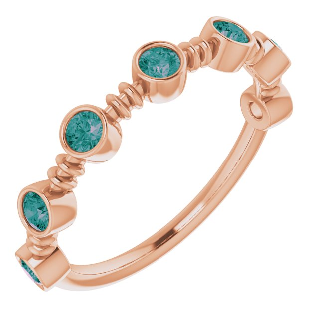 Chatham Created Alexandrite Ring in 14 Karat Rose Gold Chatham Created Alexandrite Bezel-Set Ring