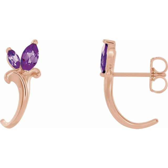 Genuine Alexandrite Earrings in 14 Karat Rose Gold Chatham Created Alexandrite Floral-Inspired J-Hoop Earrings