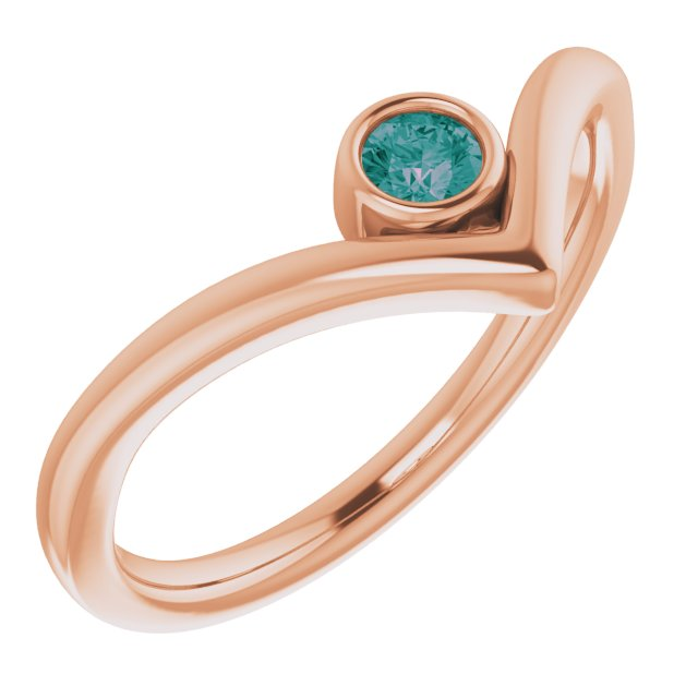 Chatham Created Alexandrite Ring in 14 Karat Rose Gold Chatham Created Alexandrite Solitaire Bezel-Set