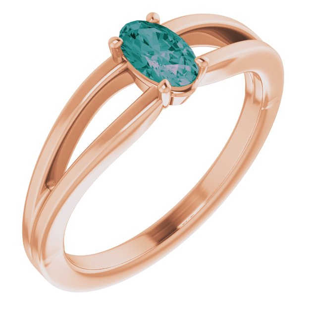 Created Alexandrite Ring in 14 Karat Rose Gold Chatham Created Alexandrite Solitaire Youth Ring