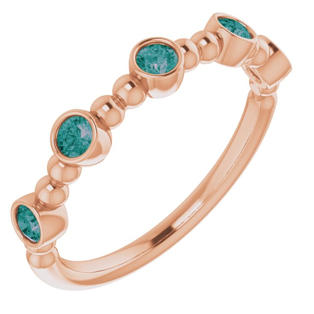 Chatham Created Alexandrite Ring in 14 Karat Rose Gold Chatham Created Alexandrite Stackable Beaded Ring
