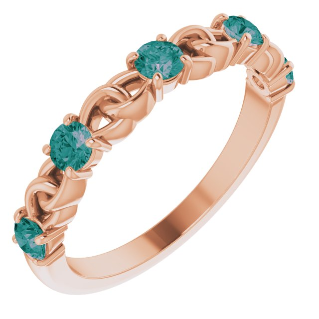 Chatham Created Alexandrite Ring in 14 Karat Rose Gold Chatham Created Alexandrite Stackable Link Ring