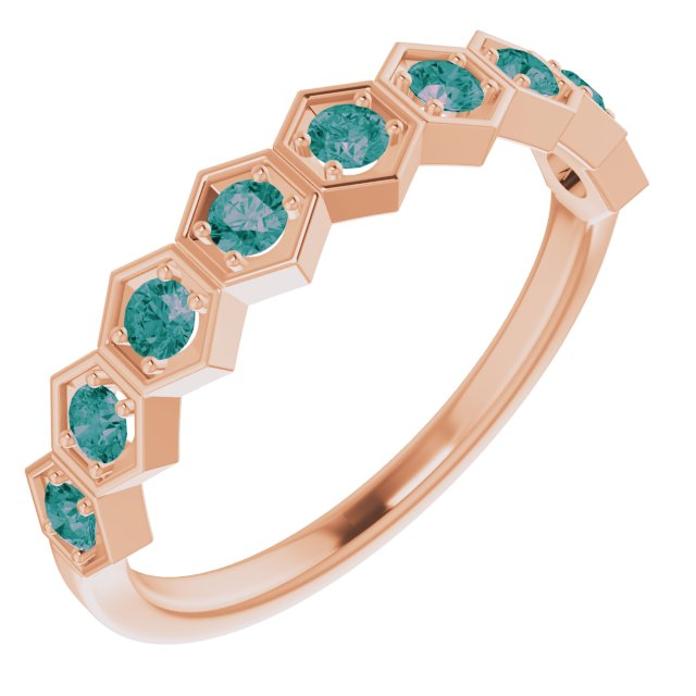 Chatham Created Alexandrite Ring in 14 Karat Rose Gold Chatham Created Alexandrite Stackable Ring