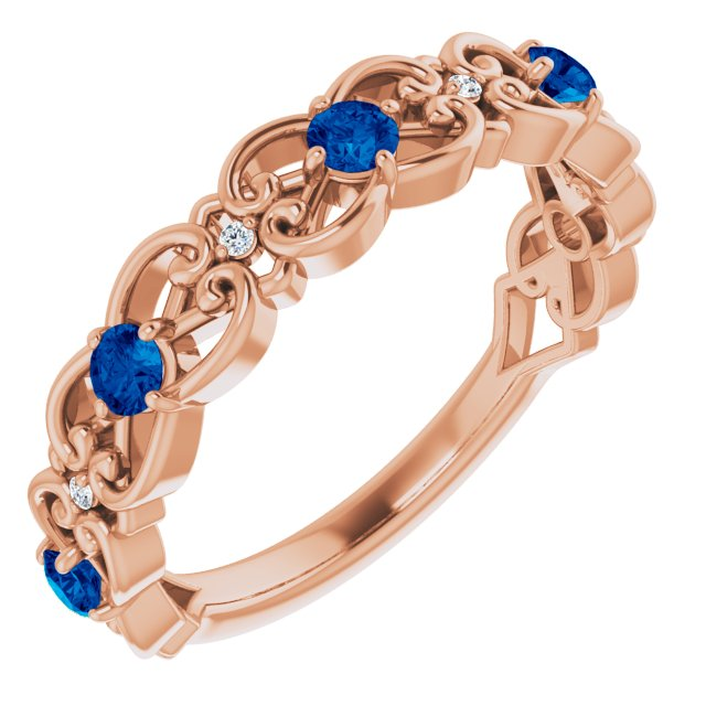Genuine Chatham Created Sapphire Ring in 14 Karat Rose Gold Chatham Created Genuine Sapphire & .02 Carat Diamond Vintage-Inspired Scroll Ring