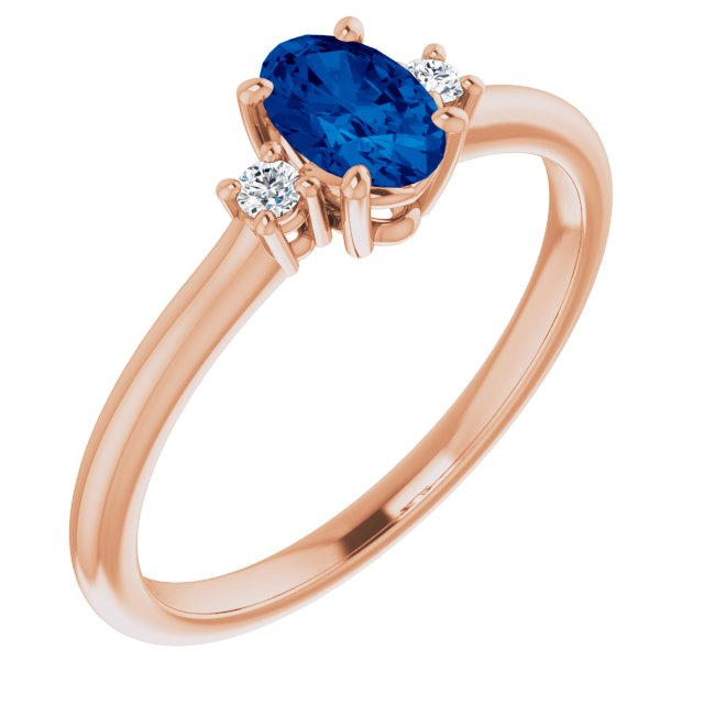 Genuine Chatham Created Sapphire Ring in 14 Karat Rose Gold Chatham Created Genuine Sapphire & .04 Carat Diamond Ring