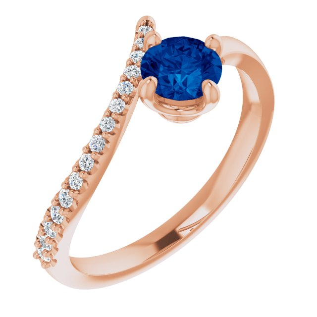 Genuine Chatham Created Sapphire Ring in 14 Karat Rose Gold Chatham Created Genuine Sapphire & 1/10 Carat Diamond Bypass Ring