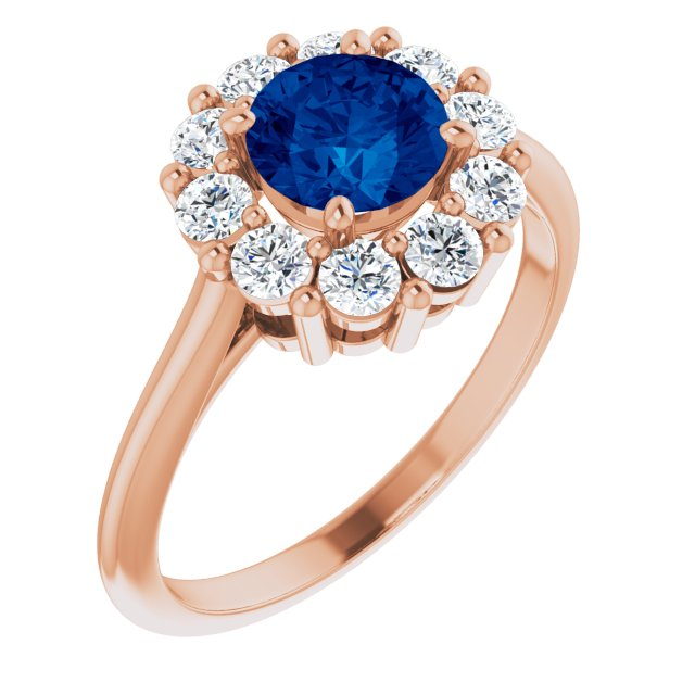 Genuine Created Sapphire Ring in 14 Karat Rose Gold Chatham Created Genuine Sapphire & 1/2 Carat Diamond Ring