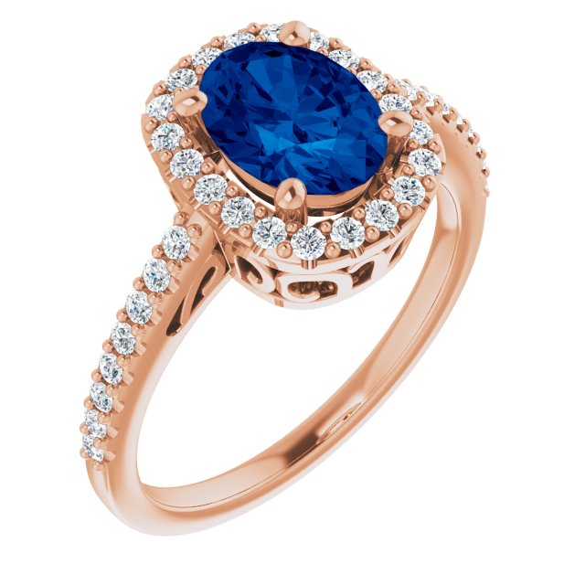 Genuine Chatham Created Sapphire Ring in 14 Karat Rose Gold Chatham Created Genuine Sapphire & 1/3 Carat Diamond Ring