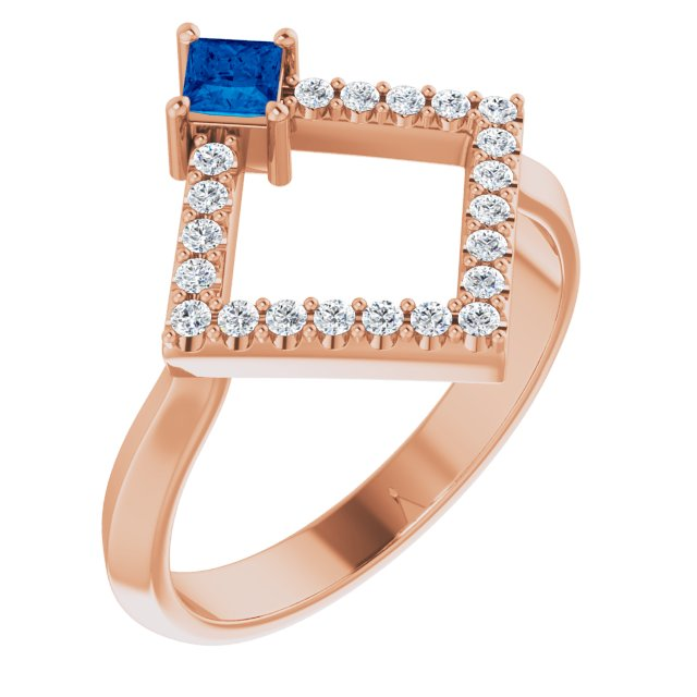 Genuine Chatham Created Sapphire Ring in 14 Karat Rose Gold Chatham Created Genuine Sapphire & 1/5 Carat Diamond Geometric Ring