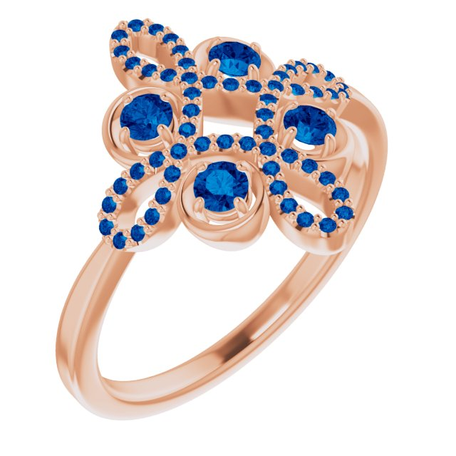 Genuine Chatham Created Sapphire Ring in 14 Karat Rose Gold Chatham Created Genuine Sapphire & 1/6 Carat Diamond Clover Ring