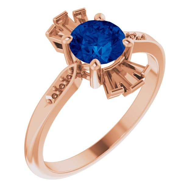 Genuine Created Sapphire Ring in 14 Karat Rose Gold Chatham Created Genuine Sapphire & 1/6 Carat Diamond Ring