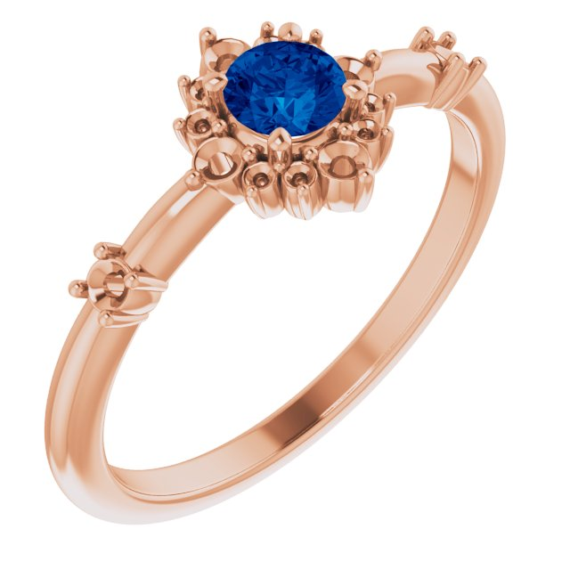 Genuine Chatham Created Sapphire Ring in 14 Karat Rose Gold Chatham Created Genuine Sapphire & 1/6 Carat Diamond Ring